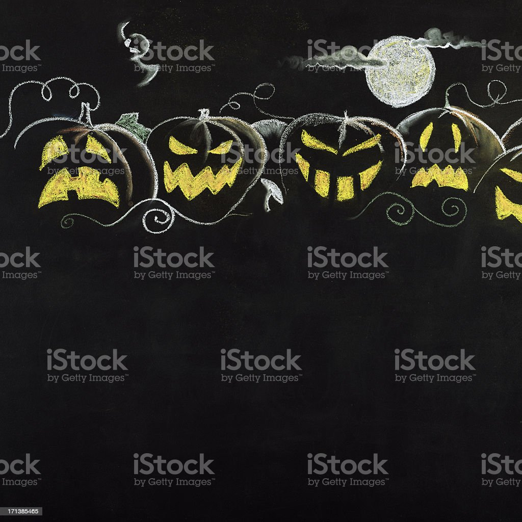 Halloween Pumpkin Border.Copy Space. royalty-free stock photo
