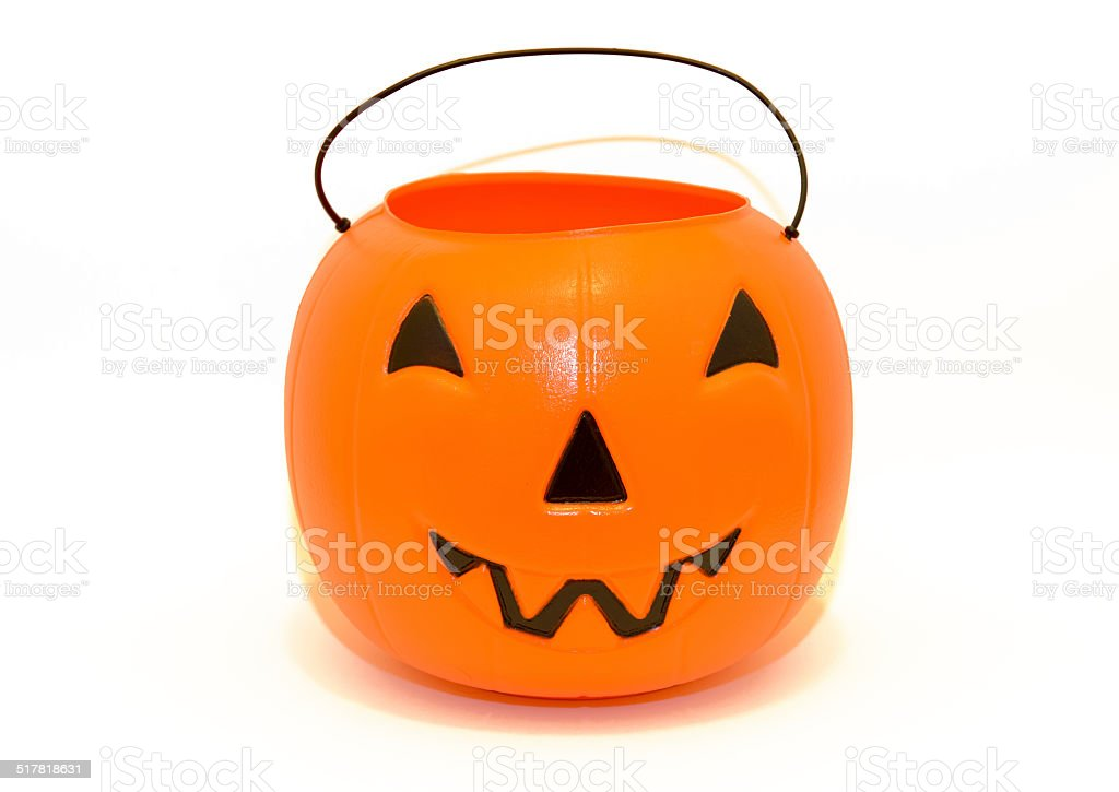 Halloween Pumpkin candy bucket for trick-or-treating stock photo