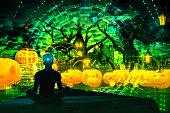 Halloween pumpkin cartoon Greated idea with meditating by VR