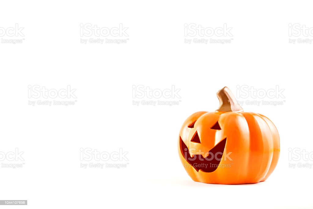 Halloween pumpkin cartoon has a happy face on a white background stock photo