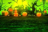 halloween pumpkin cartoon style cemetery