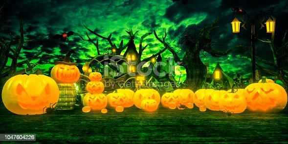 istock halloween pumpkin cartoon style cemetery 1047604226