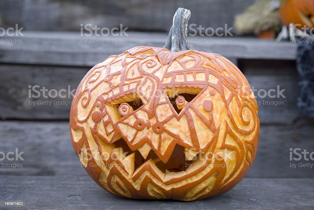 Halloween Pumpkin: Carved Jack o' Lantern Autumn Decoration & Front Porch stock photo