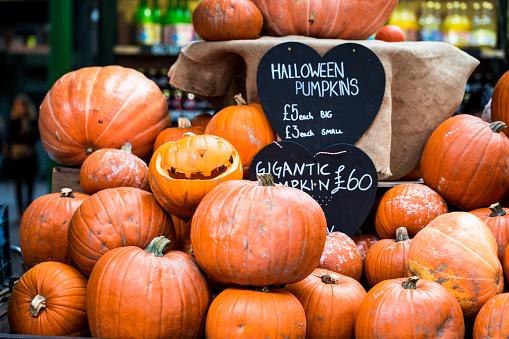 Halloween Pumpkin Display At Borough Market London Uk Stock Photo - Download Image Now