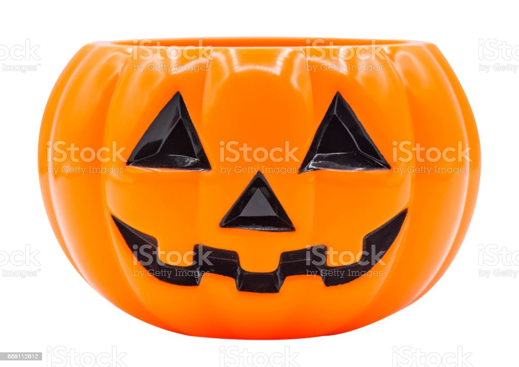 Halloween, pumpkin face isolated on white with path stock photo