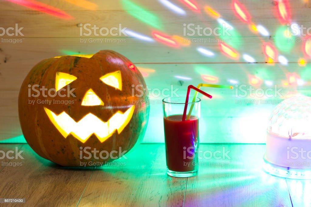 halloween pumpkin funny jack olantern on wood background halloween