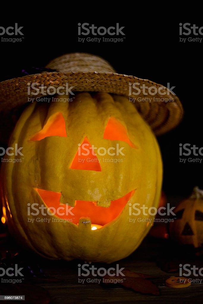 Halloween pumpkin head jack lantern on wooden background royalty-free stock photo