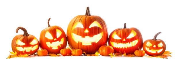 Halloween pumpkin head jack-o-lantern stock photo