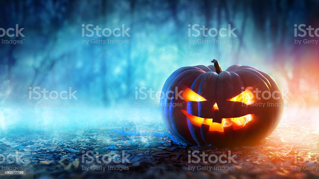 Halloween Pumpkin In A Mystic Forest At Night stock photo