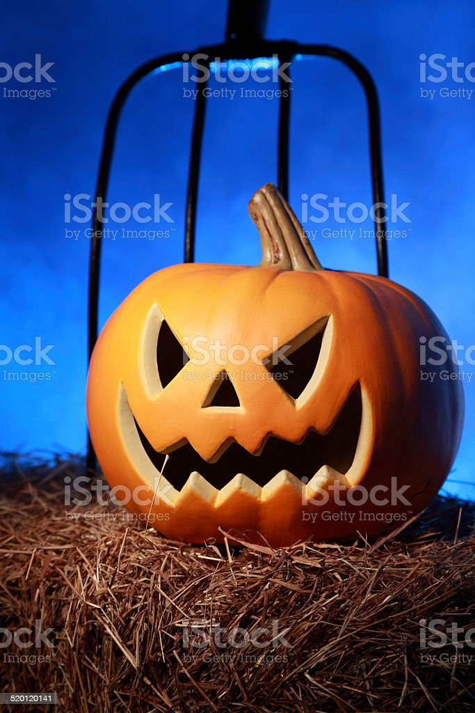 Halloween pumpkin on Hay royalty-free stock photo