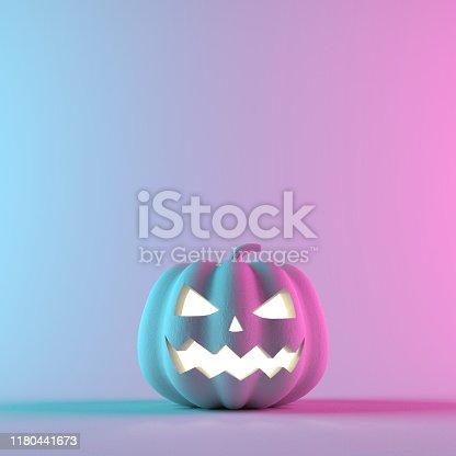 istock Halloween pumpkin on neon gradient background. 3D Rendering illustration 1180441673
