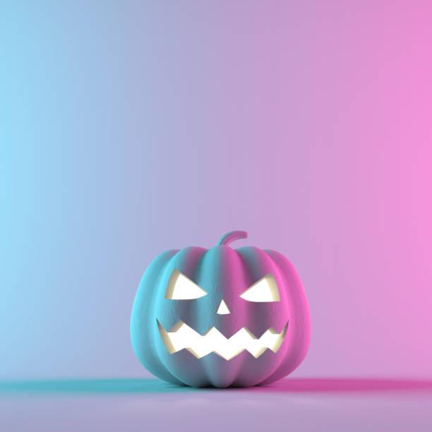 halloween-kürbis auf neon-gradient-hintergrund. 3d-rendering-illustration - neon partylebensmittel stock-fotos und bilder