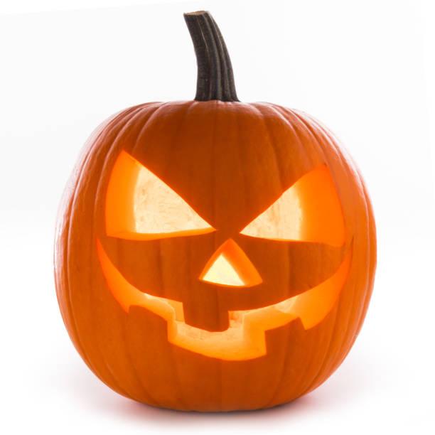 abóbora de halloween em branco - lanterna de halloween - fotografias e filmes do acervo