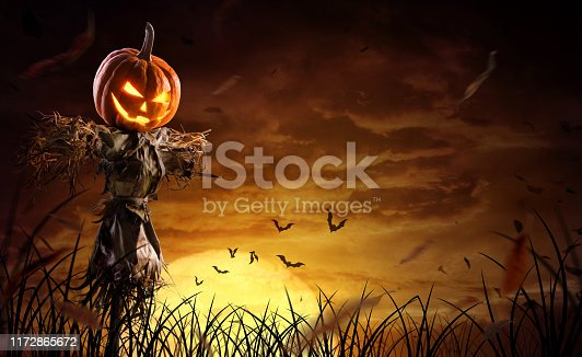 istock halloween pumpkin scarecrow on a wide field with the moon on a scary night 1172865672