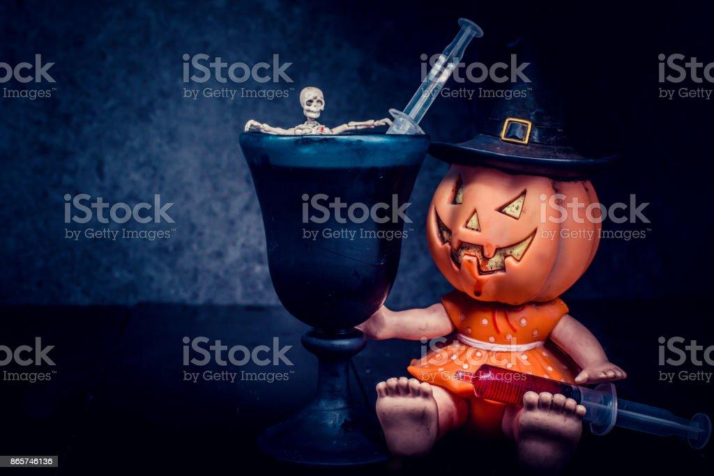 Halloween pumpkin, trick or treat in dark night stock photo