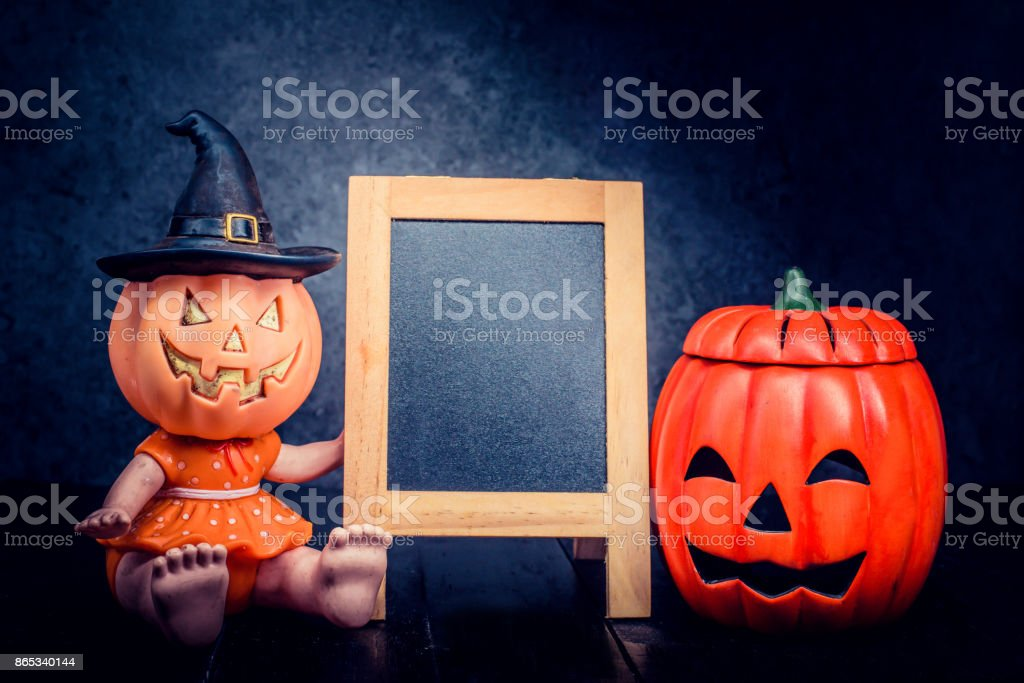 Halloween pumpkin, trick or treat with frame and copy space stock photo