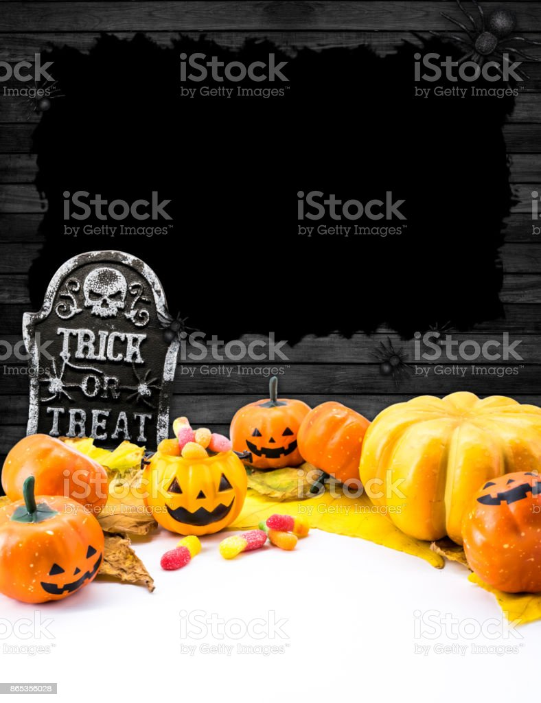 Halloween pumpkin with background and copy space stock photo