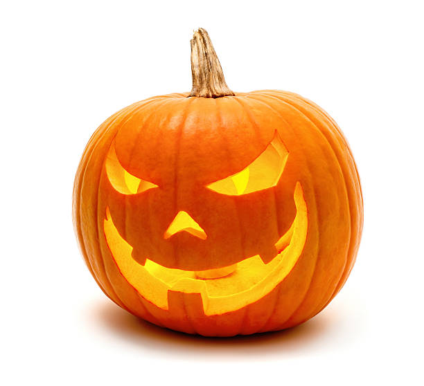 Halloween pumpkin with evil grin stock photo
