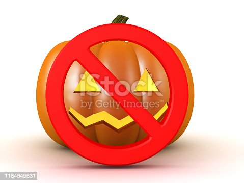 3D Halloween pumpkin with forbidden sign on it. 3D Rendering isolated on white.