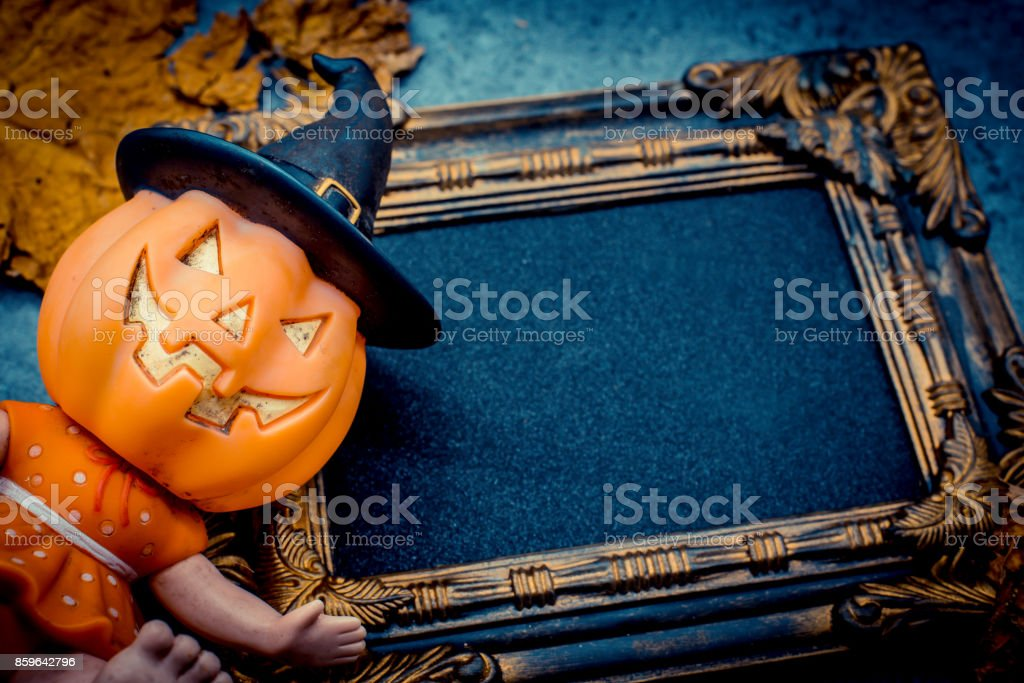 Halloween pumpkin with frame stock photo