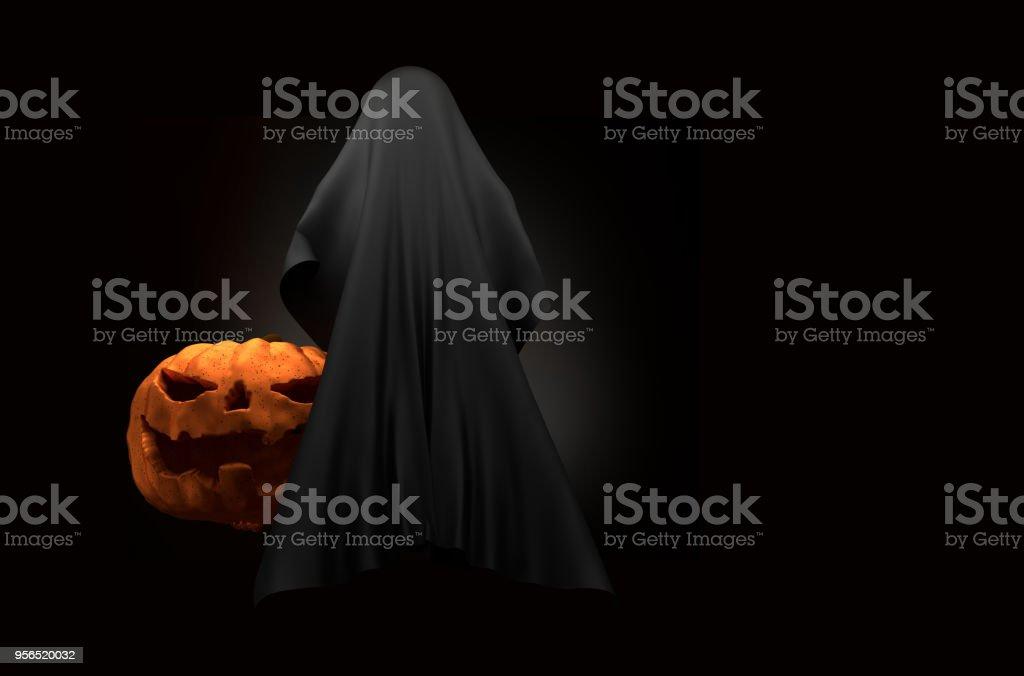 Halloween-Kürbis mit Geist Kreatur Horror Halloween 3d illustration - Lizenzfrei Abenddämmerung Stock-Foto