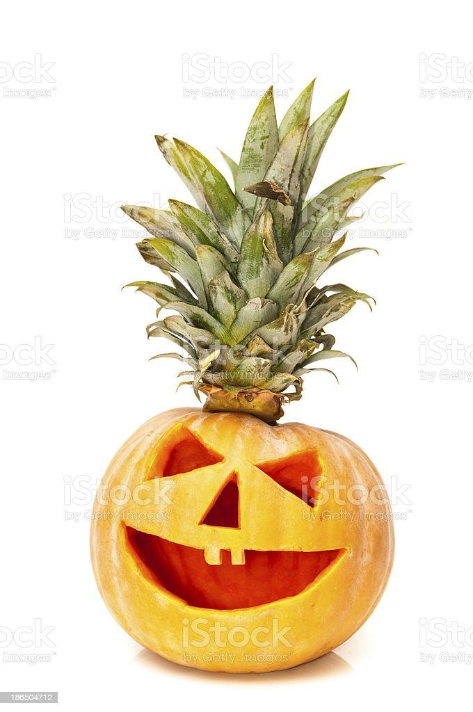 halloween pumpkin with hair royalty-free stock photo