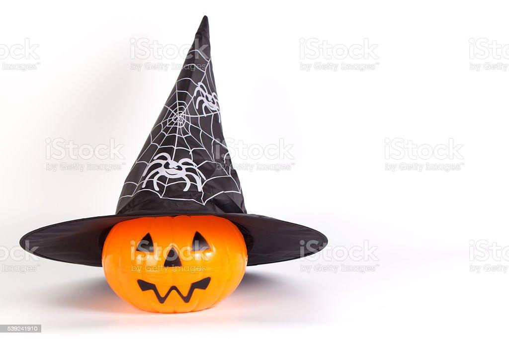 Víspera de Todos los Santos de Víspera de Todos los Santos con calabaza con sombrero blanco impreso araña foto de stock libre de derechos