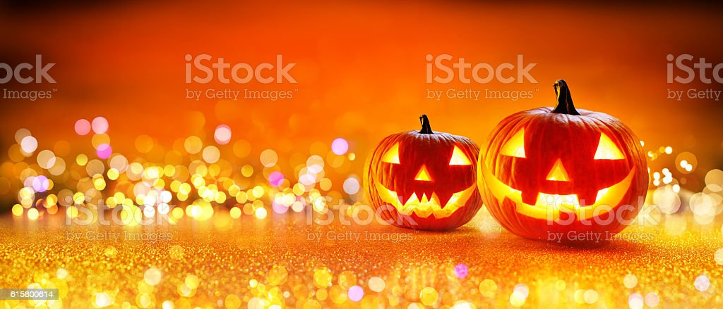 Halloween Pumpkin With Lights stock photo