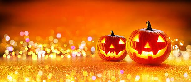 halloween pumpkin with lights - halloween party einladungen stock-fotos und bilder