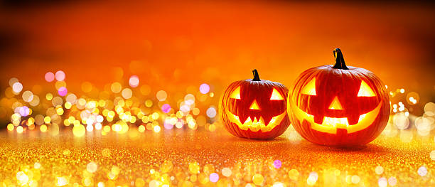 halloween pumpkin with lights - halloween fotografías e imágenes de stock