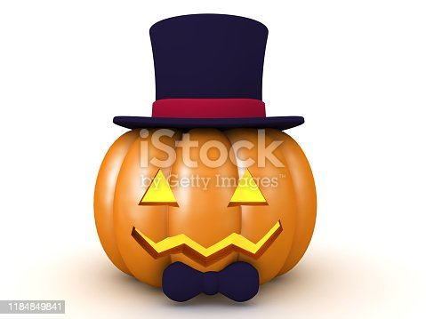 3D Halloween pumpkin with top hat and bow tie. 3D Rendering isolated on white.