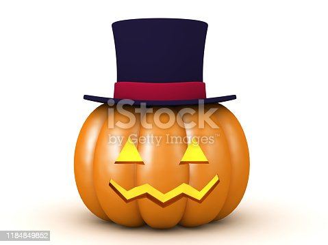 3D Halloween pumpkin with top hat. 3D Rendering isolated on white.