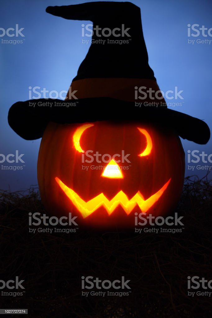 Halloween Pumpkin with Witches Hat stock photo
