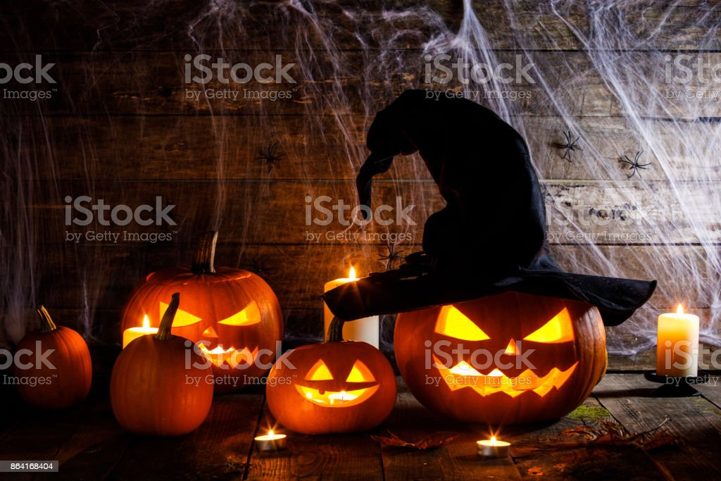 Halloween pumpkin with witches hat royalty-free stock photo