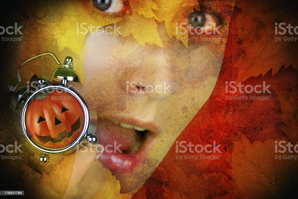 Halloween pumpkin woman is afraid and hold abstract royalty-free stock photo
