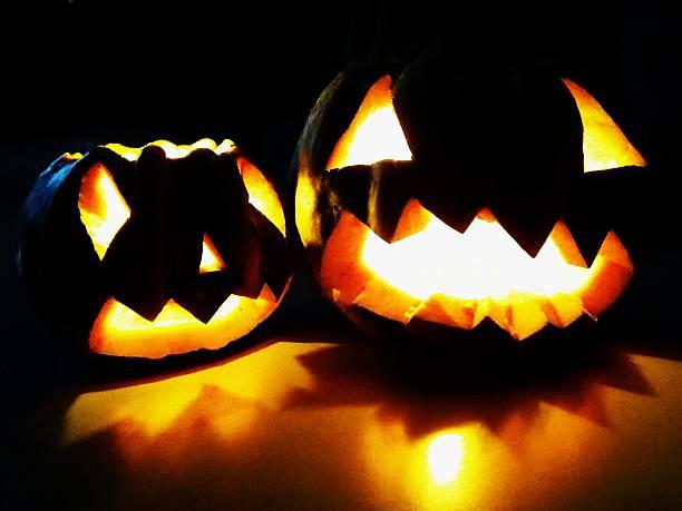 Halloween Pumpkins black background stock photo