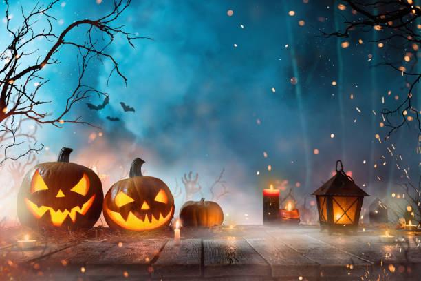 Halloween pumpkins on dark spooky forest. stock photo