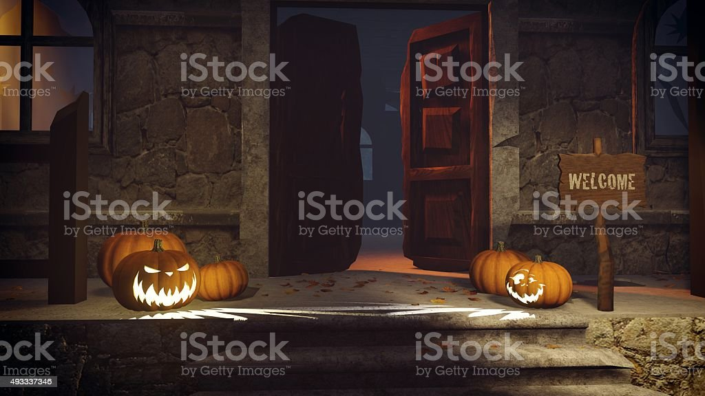 Halloween pumpkins on the doorstep royalty-free stock photo & Halloween Pumpkins On The Doorstep stock photo | iStock pezcame.com
