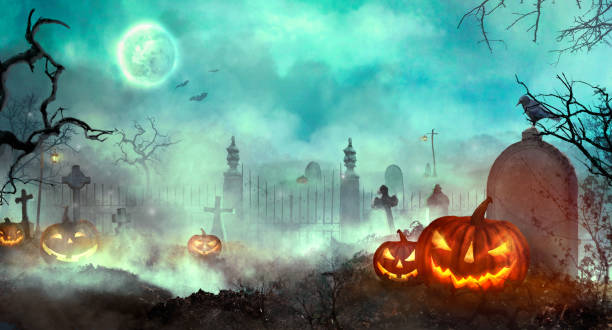 halloween-kürbisse auf dem friedhof - plants of zombies stock-fotos und bilder