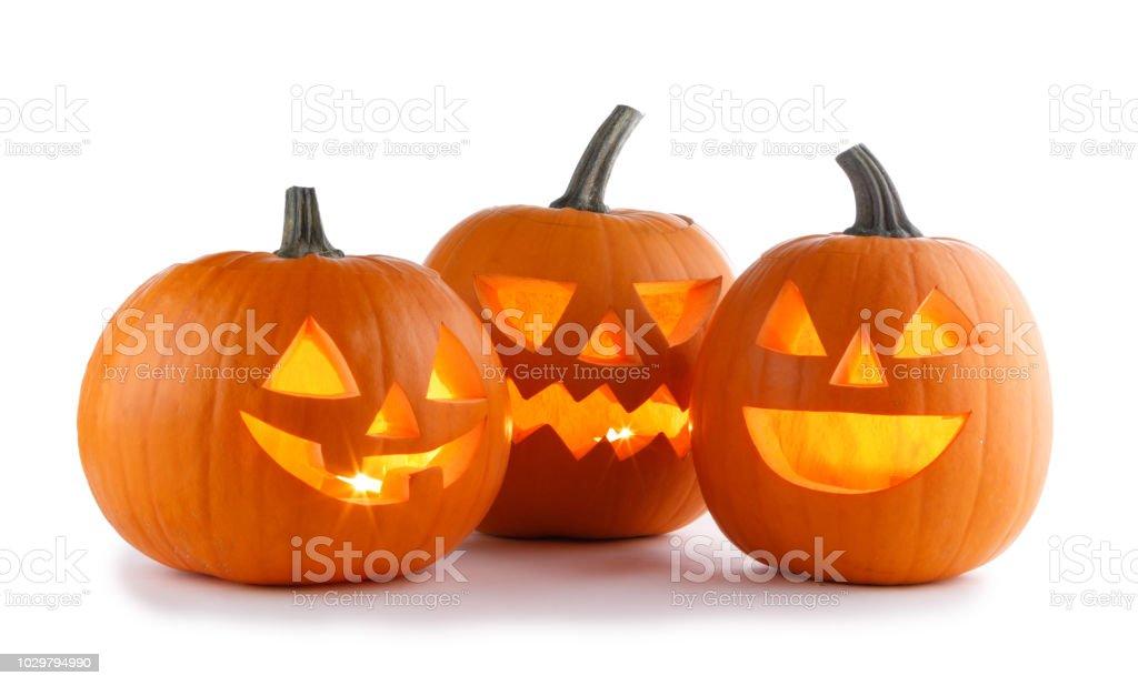 Halloween Pumpkins on white stock photo