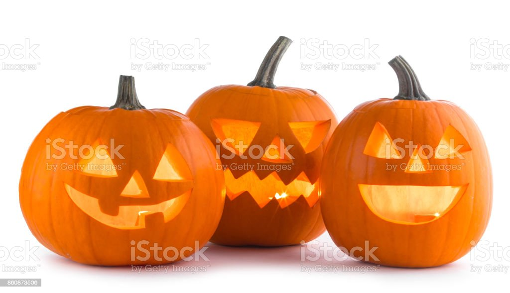 Halloween Pumpkins on white stock photo