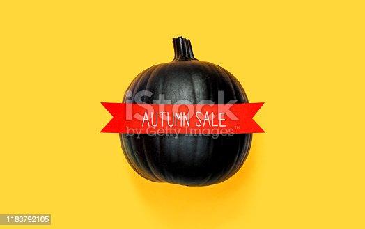 istock Halloween sale with a black pumpkin 1183792105