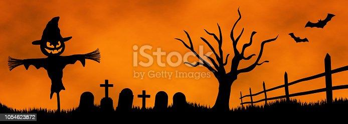 istock halloween scarecrow graveyard moon bat pumpkin 1054623872