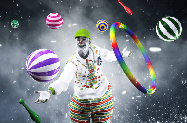scary halloween clown - horror zirkus stock-fotos und bilder