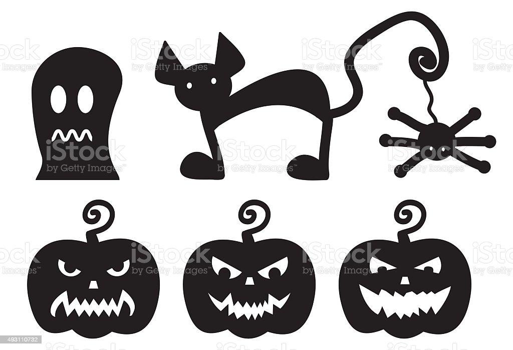 Halloween silhouettes monster set on white background stock photo