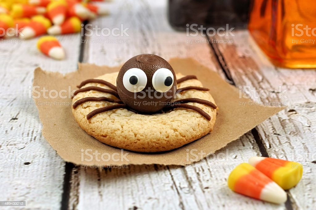 Halloween spider cookie on rustic white wood stock photo