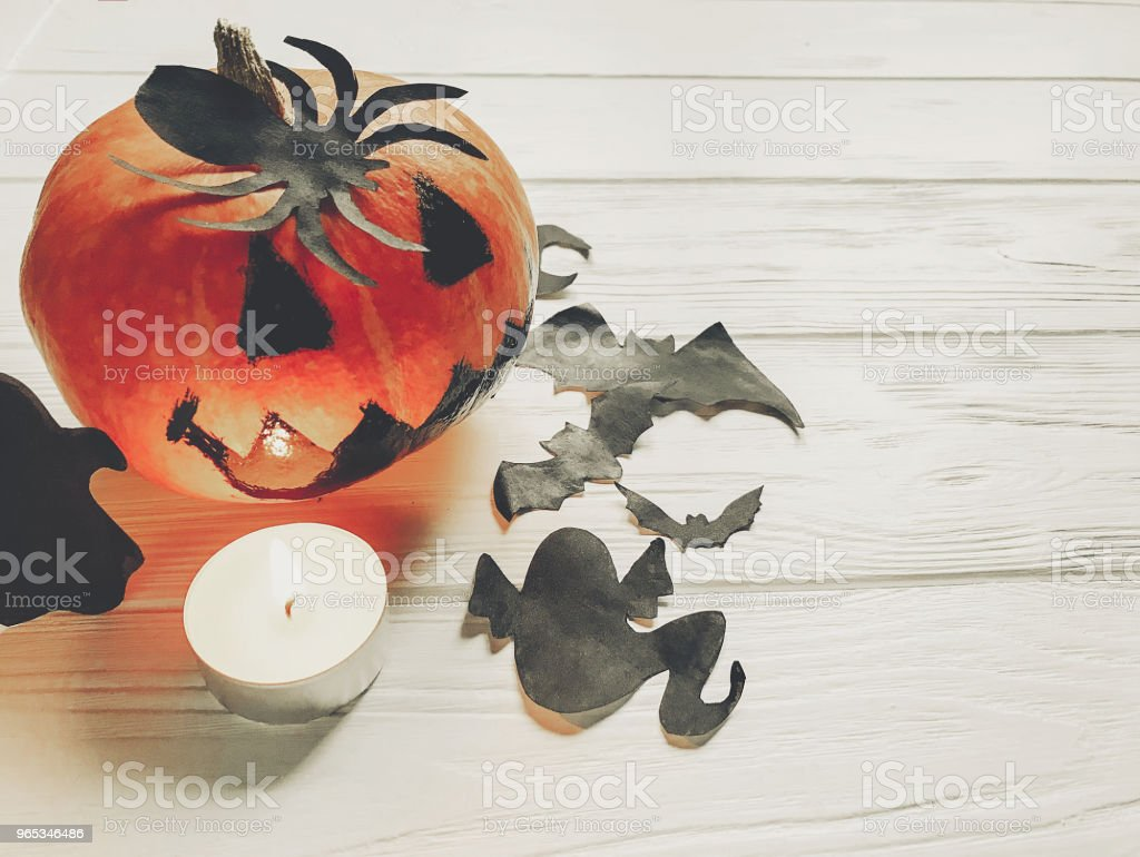 halloween. spooky jack lantern pumpkin with ghost bats and spider black decorations in light on white wooden background. holiday celebration. seasonal greetings. happy halloween concep zbiór zdjęć royalty-free