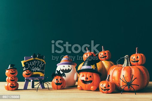 483328044 istock photo Halloween still life with pumpkins and Halloween holiday text 692126666