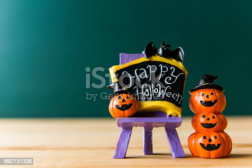 483328044 istock photo Halloween still life with pumpkins and Halloween holiday text 692131336