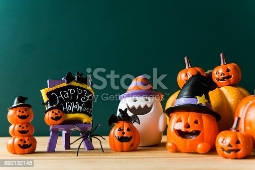 483328044 istock photo Halloween still life with pumpkins and Halloween holiday text 692132148